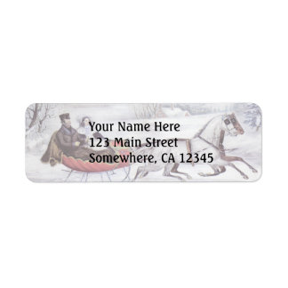 Vintage Christmas The Road Winter Labels