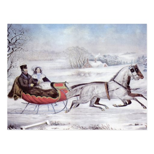 Vintage Christmas, The Road Winter Post Card