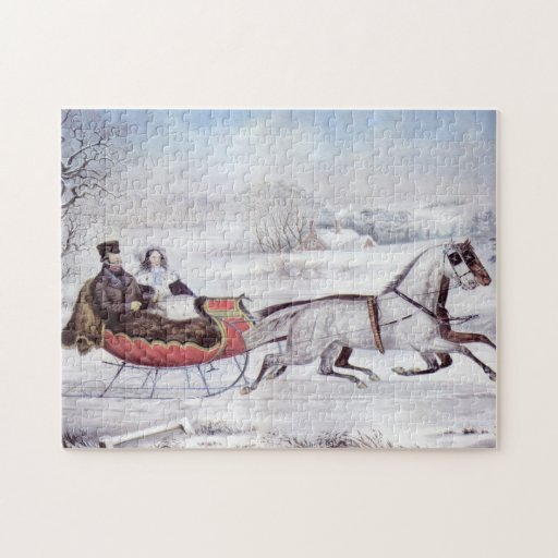 Vintage Christmas, The Road Winter Jigsaw Puzzles