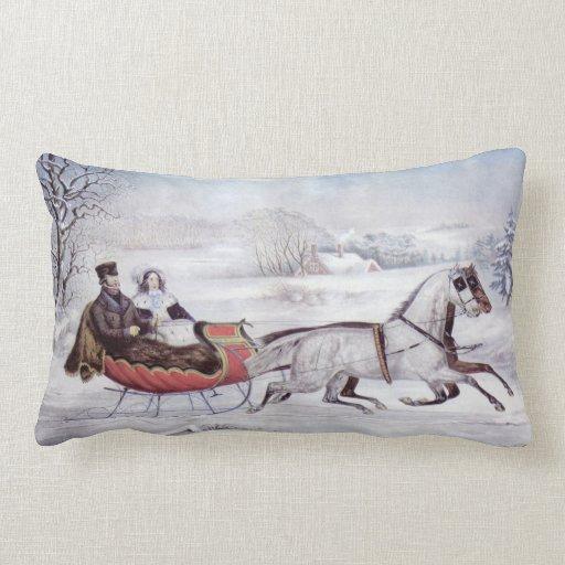 Урожай Рождества, зимняя дорога, Романтика подушки Throw Поездка