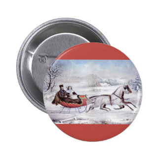 Vintage Christmas, The Road Winter, Sleigh Horse 2 Inch Round Button