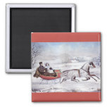 Vintage Christmas, The Road Winter, Sleigh Horse 2 Inch Square Magnet