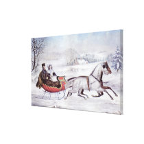 Vintage Christmas, The Road Winter, Sleigh Horse Canvas Print