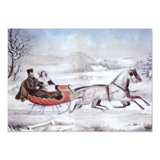 Vintage Christmas, The Road Winter, Sleigh Horse Card