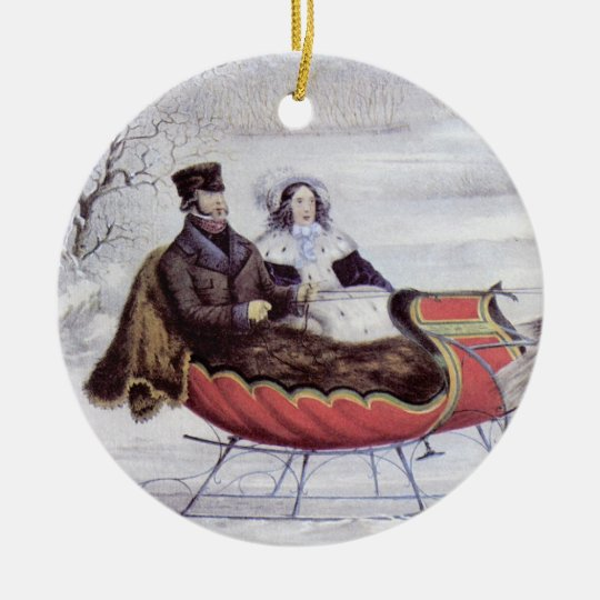 Vintage Christmas, The Road Winter, Sleigh Horse Ceramic Ornament