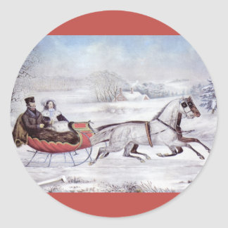 Vintage Christmas, The Road Winter, Sleigh Horse Classic Round Sticker