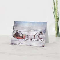 Vintage Christmas, The Road Winter, Sleigh Horse Holiday Card