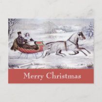 Vintage Christmas, The Road Winter, Sleigh Horse Holiday Postcard