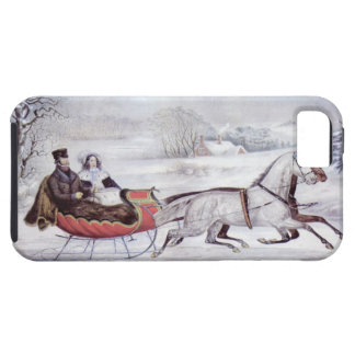 Vintage Christmas, The Road Winter, Sleigh Horse iPhone SE/5/5s Case
