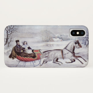 Vintage Christmas, The Road Winter, Sleigh Horse iPhone X Case