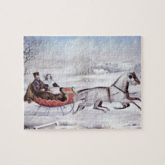 Vintage Christmas, The Road Winter, Sleigh Horse Jigsaw Puzzle
