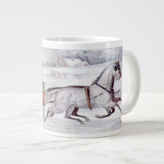 Vintage Christmas, The Road Winter, Sleigh Horse Large Coffee Mug