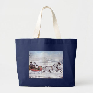 Vintage Christmas, The Road Winter, Sleigh Horse Large Tote Bag