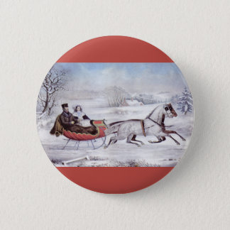 Vintage Christmas, The Road Winter, Sleigh Horse Pinback Button