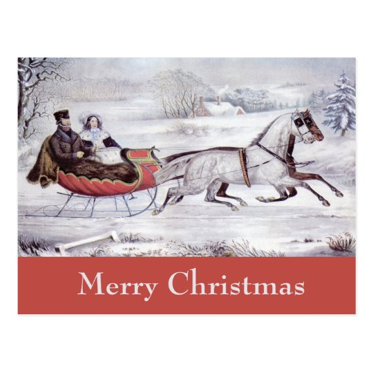 Vintage Christmas, The Road Winter, Sleigh Horse Postcard