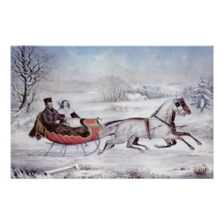 Vintage Christmas, The Road Winter, Sleigh Horse Poster