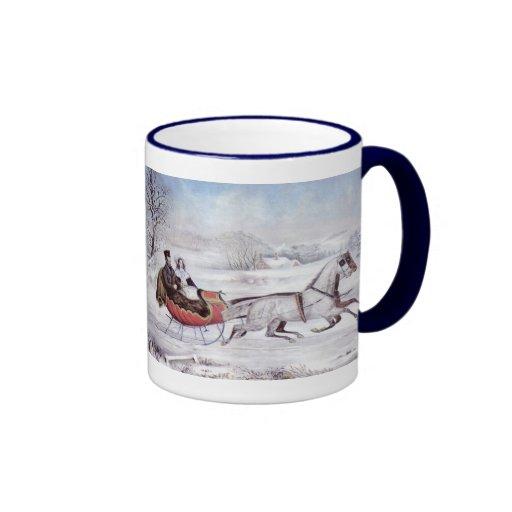 Vintage Christmas, The Road Winter, Sleigh Horse Ringer Coffee Mug