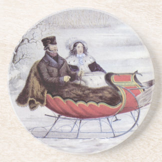 Vintage Christmas, The Road Winter, Sleigh Horse Sandstone Coaster