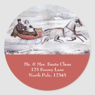 Vintage Christmas, The Road Winter Round Stickers