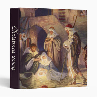 Vintage Christmas, Three Shepherds and Baby Jesus 3 Ring Binder