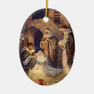 Vintage Christmas, Three Shepherds and Baby Jesus Ceramic Ornament