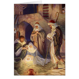Vintage Christmas, Three Shepherds and Baby Jesus Greeting Card