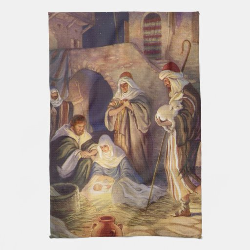 Vintage Christmas, Three Shepherds and Baby Jesus Hand Towel