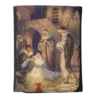 Vintage Christmas, Three Shepherds and Baby Jesus Leather Trifold Wallet