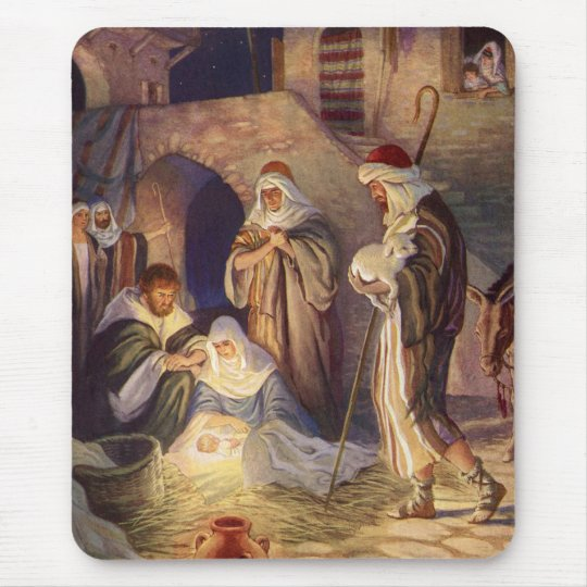 Vintage Christmas, Three Shepherds and Baby Jesus Mouse Pad