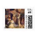 Vintage Christmas, Three Shepherds and Baby Jesus Postage Stamps