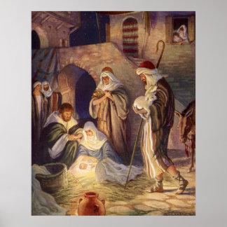 Vintage Christmas, Three Shepherds and Baby Jesus Poster