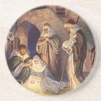 Vintage Christmas, Three Shepherds and Baby Jesus Sandstone Coaster