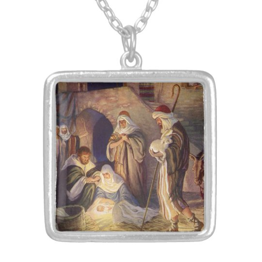 Vintage Christmas, Three Shepherds and Baby Jesus Silver Plated Necklace