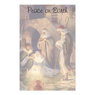 Vintage Christmas, Three Shepherds and Baby Jesus Stationery