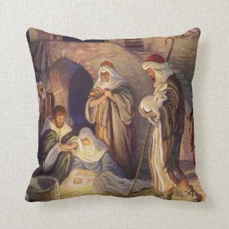 Vintage Christmas, Three Shepherds and Baby Jesus Throw Pillow