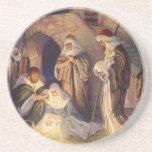 Vintage Christmas, Three Shepherds and Jesus Beverage Coaster