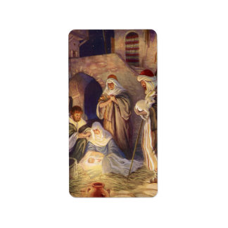 Vintage Christmas Three Shepherds and Jesus Personalized Address Label