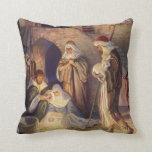 Vintage Christmas, Three Shepherds and Jesus Throw Pillow