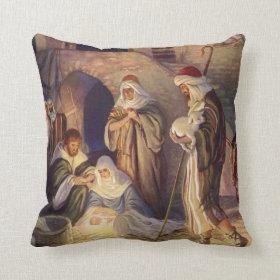 Vintage Christmas, Three Shepherds and Jesus Throw Pillow
