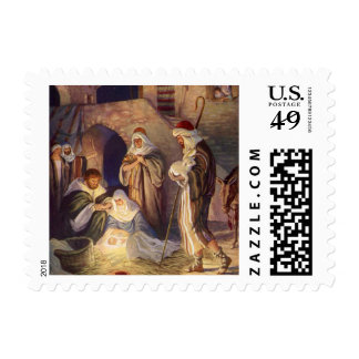 Vintage Christmas, Three Shepherds and Jesus Postage Stamps