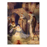 Vintage Christmas, Three Shepherds and Jesus Post Card