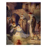 Vintage Christmas, Three Shepherds and Jesus Poster