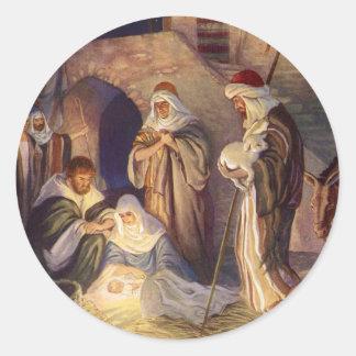 Vintage Christmas, Three Shepherds and Jesus Classic Round Sticker