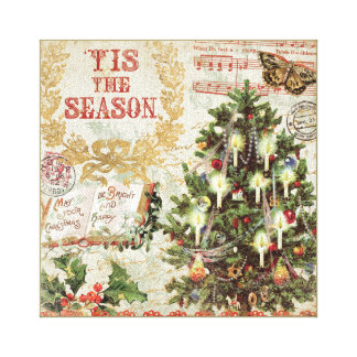 Vintage Christmas Tis the Season Stretched Canvas Print
