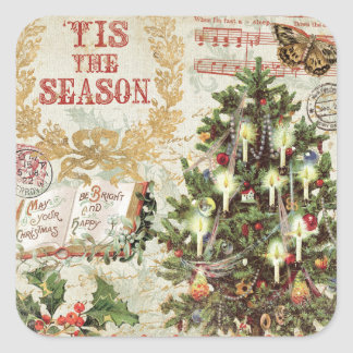 Vintage Christmas Tis the Season Square Sticker
