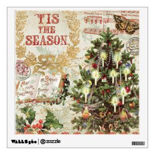 vintage christmas tis the season wall sticker - Vintage Christmas Wall Decor