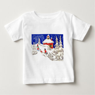Vintage Christmas, Tobogganing on the hill Baby T-Shirt