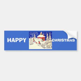 Vintage Christmas, Tobogganing on the hill Car Bumper Sticker