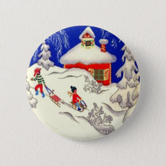Vintage Christmas, Tobogganing on the hill Pinback Button