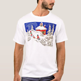 Vintage Christmas, Tobogganing on the hill T-Shirt
